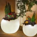 Светящееся кашпо шар для цветов LED MOONY 100 см. c белой светодиодной подсветкой IP65 220V