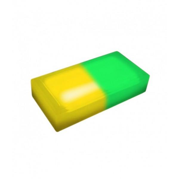 Светодиодная тротуарная плитка LED LUMBRUS 200x100x40 мм. двухцветная жёлтый-зелёный IP68