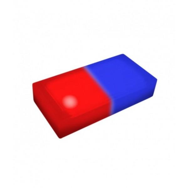 Светодиодная тротуарная плитка LED LUMBRUS 200x100x40 мм. двухцветная красный-синий IP68