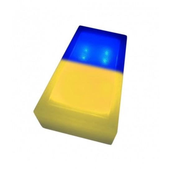 Светодиодная тротуарная плитка LED LUMBRUS 200x100x60 мм. двухцветная жёлтый-синий IP68
