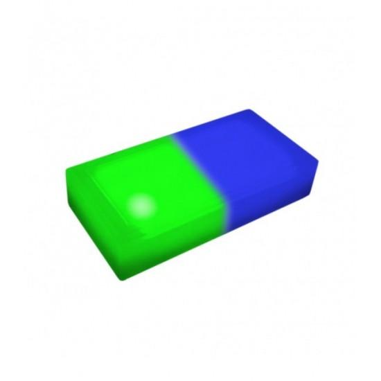 Светодиодная тротуарная плитка LED LUMBRUS 200x100x60 мм. двухцветная синий-зелёный IP68