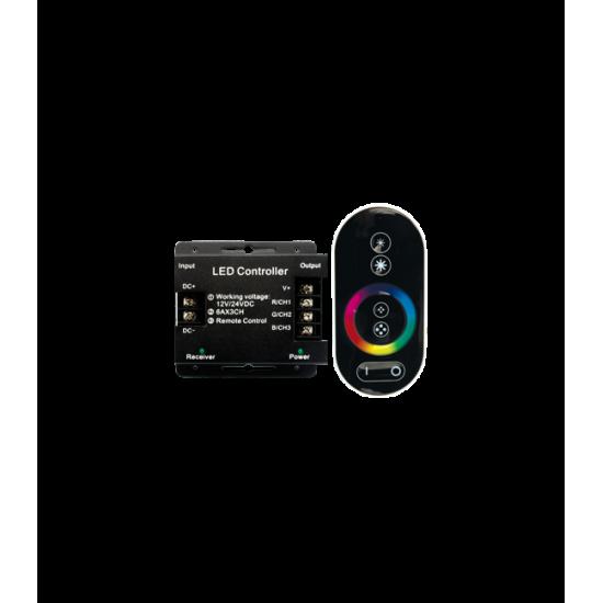 Контроллер RGB для светодиодных светильников 12V 216 Вт. / 24V 432 Вт. с сенсорным радио-пультом ДУ — Купить в интернет-магазине