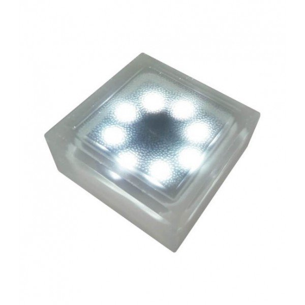 Светодиодная брусчатка на солнечных батареях LED LUMBRUS 100x100x60 мм. белая IP68