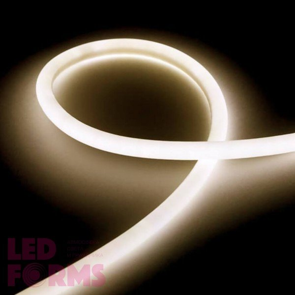 Гибкий неон LED NEON Flex 14 мм. с тёплой белой подсветкой IP67 220V