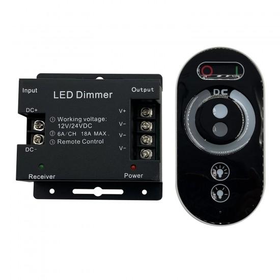 Диммер для одноцветных светодиодных светильников 12V 216 Вт. / 24V 432 Вт. с сенсорным пультом ДУ — Купить в интернет-магазине L