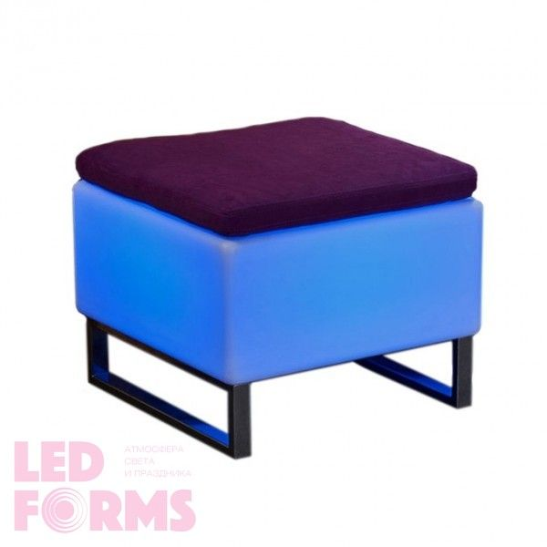 Стул с подсветкой LED Quadro Puff Mini, 60*60*45 см., светодиодный, разноцветный (RGB), встроенный аккумулятор