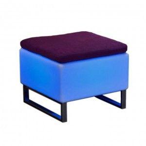 Светящийся стул-пуф с аккумулятором LED BINGO 60x60x45 см. с RGB подсветкой и пультом ДУ IP65