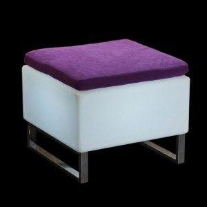 Стул с подсветкой LED Quadro Puff Mini, 60*60*45 см., светодиодный, цвет белый, 220V
