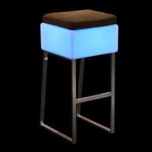 Светящийся барный стул LED BINGO 40x40x80 см. c разноцветной RGB подсветкой и пультом ДУ IP65 220V — Купить в интернет-магазине