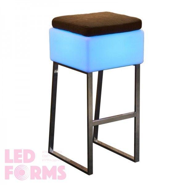 Стул барный с подсветкой LED Quadro Puff, 40*40*81 см., светодиодный, разноцветный (RGB), встроенный аккумулятор