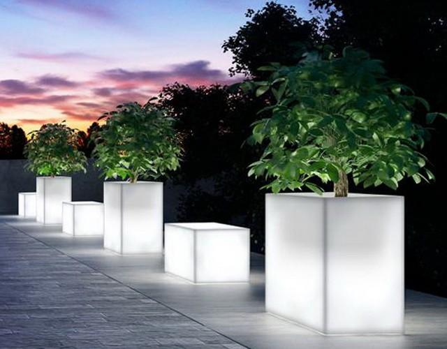 Прямоугольные кашпо с LED-подсветкой
