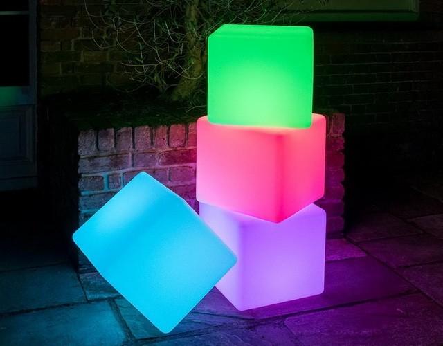 Разноцветные светящиеся LED-кубы 20, 30, 40, 50, 60 см.